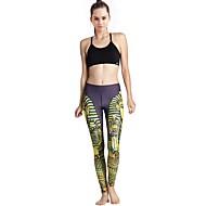 MIDUO® Damen Laufen Leggins Unten Videokompression Frühling Sommer Herbst Winter Yoga Laufen Polyester Eng Innen Gelb Print