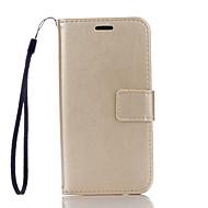 Varten Samsung Galaxy kotelo Korttikotelo / Lomapkko / Tuella / Flip Etui Kokonaan peittävä Etui Yksivärinen Kova Tekonahka SamsungJ5