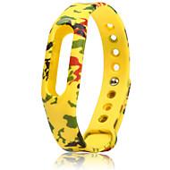 그린 / 노란색 고무 스포츠 밴드 용 Xiaomi 손목 시계 10mm