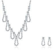 Smykkesæt Perle Sølv Zirkonium Kvadratisk Zirconium Frynsetip(s) Mode Personaliseret Sølv Halskæde / Øreringe Brude Smykke sætBryllup
