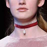 Damskie Naszyjniki choker Perlový náhrdelník Tatuaż Choker Kropla Perłowy Koronka Tatuaż Modny White Black Czerwony Biżuteria NaŚlub