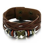 Herre Læder Armbånd Mode Vintage Justérbar Læder Legering Krydsformet Geometrisk form Brun Smykker For Daglig Afslappet 1 Stk.