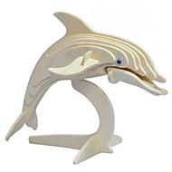 puslespil 3D-puslespil Træpuslespil Byggesten Gør Det Selv Legetøj Delfin Træ Guld Model- og byggelegetøj