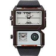 Oulm Herren Armbanduhr Compass Duale Zeitzonen Quartz PU Band Cool Bequem Schwarz Weiß Braun