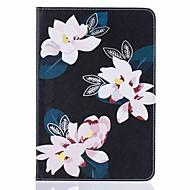 För Korthållare med stativ Lucka Mönster fodral Heltäckande fodral Blomma Hårt PU-läder för Apple iPad Mini 4 iPad Mini 3/2/1