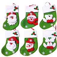 6pcs / lot Mini yılbaşı çorap / çorap şeker çanta yılbaşı hediye çantası saklama torbaları christmas dekorasyon (stil rastgele)