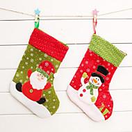 2pcs חג המולד חג המולד חג המולד גרב גרב קישוט עץ חג המולד שקית מתנה לחג המולד (סגנון אקראי)