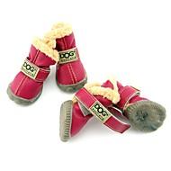 Chien Chaussures & Bottes Mode / Garder au chaud Hiver Couleur Pleine Rouge / Vert / Bleu / Noir / Vin Cuir PU