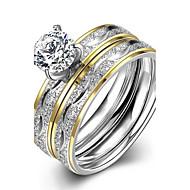 Δαχτυλίδι Δαχτυλίδι αρραβώνων Ανοξείδωτο Ατσάλι Ζιρκονίτης Επιχρυσωμένο Μοντέρνα Χρυσαφί Κοσμήματα Γάμου Πάρτι Καθημερινά Causal Αθλητικά