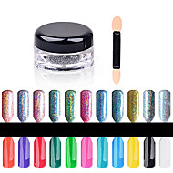 2g/Box Shinning Rainbow Nail Glitter Powder Perfect Holographic Nails Mirror Powder Dust Laser Silver Nails Pigment