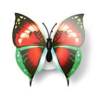 3 stk herlig kreativ farge skiftende abs butterfly førte natt lys lampe vakre hjem dekorative veggnight (stil tilfeldig)