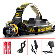 CREE Q5 LED Headlamp White/Yellow Lighting Color Zoomable Helmet Light Hands-free Flashlight Headlight 18650 Battery and Charger