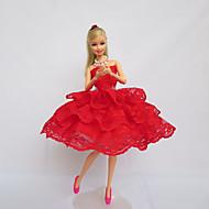 Fête / Soirée Robes Pour Poupée Barbie Rouge Lace Robes Pour Fille de Doll Toy