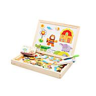 Jigsaw Puzzle Mágneses játékok Fejlesztő játék Fejtörő Építőkockák DIY játékok Elefánt Ház Ló Krokodilbőr utánzat Fa