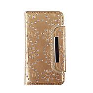 Varten Lomapkko / Korttikotelo / Paljetti Etui Kokonaan peittävä Etui Kukka Pehmeä Aito nahka varten Samsung S7 edge / S7 / S6 edge / S6