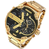 Men's Military Watch Dress Watch Fashion Watch Wrist watch Calendar Dual Time Zones Punk Quartz Alloy Band Charm Cool Casual Luxury Gold