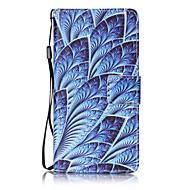 Voor huawei p8 lite p9 case cover blauw bloemen patroon schilderen kaart stent pu leer
