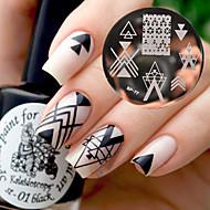 født temmelig bp77 nail art-billede stempling plader geometri negative rum design
