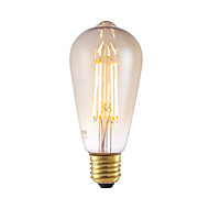 6W E27 LED Filament Bulbs ST64LF 4 COB 550 lm Amber Dimmable / Decorative AC 220-240 V 1 pcs