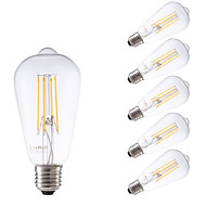 6W E27 LED Filament Bulbs ST58LF 4 COB 600 lm Warm White Dimmable / Decorative AC 220-240 V 6 pcs