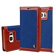 Voor Portemonnee / Kaarthouder / met standaard / Flip hoesje Volledige behuizing hoesje Effen kleur Hard Textiel Samsung S7 edge / S7