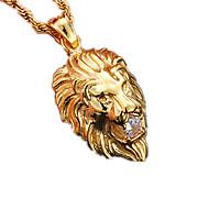 Herre Dame Par Halskædevedhæng Dyreformet Løve Rustfrit Stål Simuleret diamant Mode kostume smykker Smykker Til Fest Daglig Afslappet