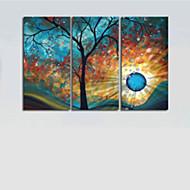 フレームなし設定キャンバス3枚の手描き現代の木日月の壁の芸術の装飾の油絵/