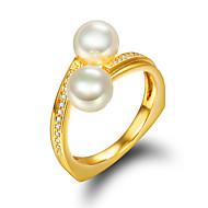 指輪 婚約指輪 真珠 真珠 人造真珠 ゴールドメッキ 18K 金 ゴールデン ジュエリー 結婚式 パーティー 日常 カジュアル 1個