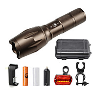 U'King ZQ-G7000-Tan#3-US CREE XML-T6 2000LM Portable Zoom Flashlight Torch Kit 5Modes with 1*Battery and Charger
