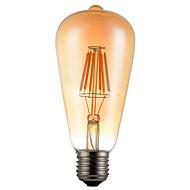 6W E26/E27 LED Filament Bulbs ST64 6 SMD 5730 600 lm Warm White Decorative AC85-265 V 1 pcs