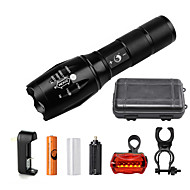 U'King ZQ-G7000-Black#3-US CREE XML-T6 2000LM Portable Zoom Flashlight Torch Kit 5Modes with 1*Battery and Charger