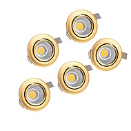 5pcs 5w torchis 220-240v or descendait éclairage encastré au plafond