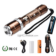 U'King ZQ-940BR# XML-T6 2000LM 5Mode Flashlight Torch Kit with Attack Head Self-defense Function and USB Cable