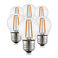 6 pcs- 2W E26/E27 LED Filament Bulbs G45 2 COB 200 lm Warm White Decorative 220V-240V
