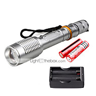 U'King ZQ-X1020S#-EU CREE XML T6 2000LM Zoomable 5Modes Flashlight Torch Kit with Batteries and Battery Charger