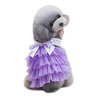 犬用品 ドレス 犬用ウェア 夏 レース キュート 結婚式 ファッション パープル ピンク ライトブルー