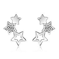 Kvadratisk Zirconium Stangøreringe Smykker Bryllup Fest Daglig Afslappet Sølv 1 par Sølv
