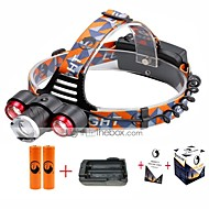 U'King® ZQ-X814R#2-EU Three Head 1*T6/2*XPE 5000LM Zoomable Multifunction 4Modes Headlamp Bike Light Kits with Safety Rear LED