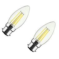 2PCS 4W B22/E27  LED Filament Bulbs C35 4COB 400 lm Warm White Dimmable AC 220-240 AC 110-130 V