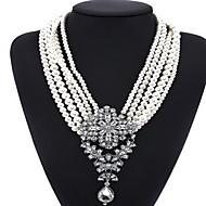 Halskædevedhæng Erklæring Halskæder Smykker Krystal Enlig Snor Krydsformet Dråbe Ædelsten Perle Enkelt design Statement-smykker Mode