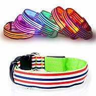 Cat Dog Collar Reflective LED Lights Adjustable/Retractable Strobe/Flashing Safety Stripe Rainbow Red White Green Blue Pink Yellow Orange