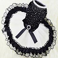 Gatos Perros Vestidos Ropa para Perro Verano Primavera/Otoño Princesa Adorable Blanco/Negro