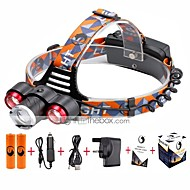 U'King® ZQ-X814R#-UK Three Head 1*T6/2*XPE 5000LM Zoomable Multifunction 4Modes Headlamp Bike Light Kits with Safety Rear LED