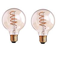 2PCS 4W B22/E27  LED Soft Filament Bulbs G80 COB 400 lm Warm White Dimmable AC 220-240 AC 110-130 V