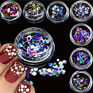 12bottles/set Mixed Size Fashion Colorful Nail Art Glitter Round Thin Paillette Beautiful Laser Sparkling Slice Design Nail Art DIY Decoration P1-12