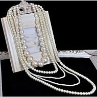 Dam Lager Halsband Pärlhalsband Kors Pärla Multi lager Lång längd Brudkläder kostym smycken Smycken Till Bröllop Party Speciellt
