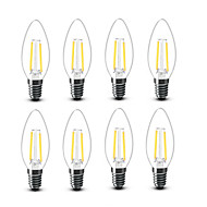 2W E14 フィラメントタイプLED電球 C35 2 COB 200 lm 温白色 装飾用 AC220 AC230V印加時 AC240 V 8枚