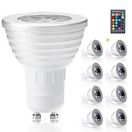 3W E14 GU10 GX5.3 E27 LED Spotlight MR16 1 Integrate LED 300 lm RGB Dimmable Remote-Controlled Decorative AC 85-265 V 8 pcs