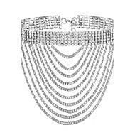 女性用 チョーカー ラインストーン ライン ゴールドメッキ イミテーションダイヤモンド ファッション ゴールド シルバー ジュエリー のために パーティー 日常 1個