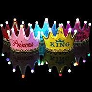 1 stuks lichtgevende gele petje prinses gelukkige verjaardag feest decoraties kroon leidde kinderen verjaardag pet hoed festival